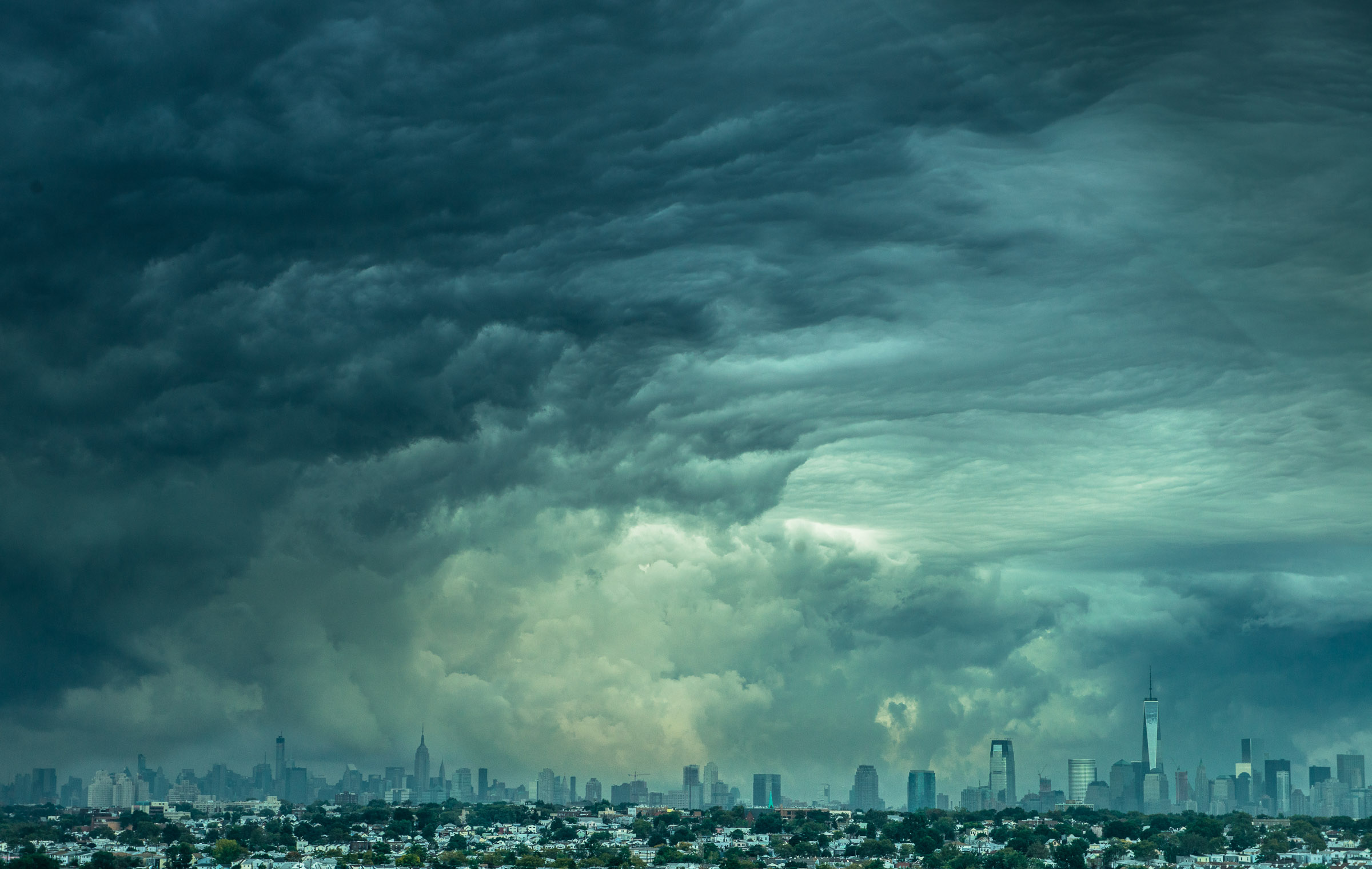 NYC Skyline with Crazy Clouds / September 30th 2014